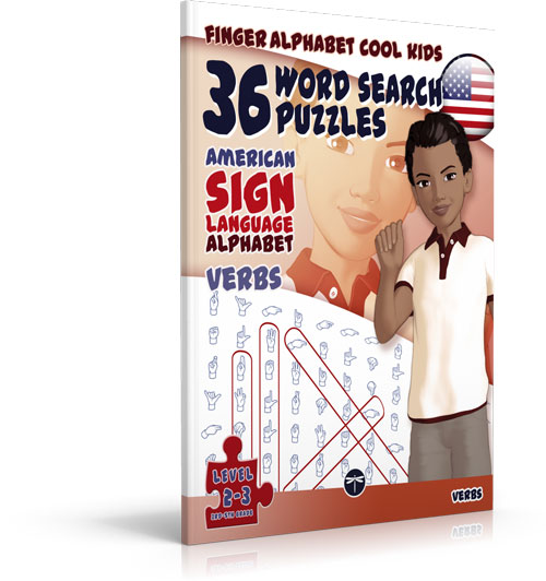 ASL Word Search Games 108 Word Search Puzzles with the American Sign Language Alphabet Cool Kids Verbs