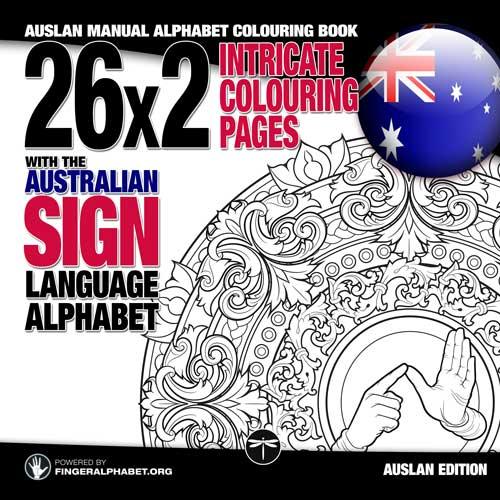 The Austalian Sign Language Alphabet Colouring book by Lassal for Project FingerAlphabet