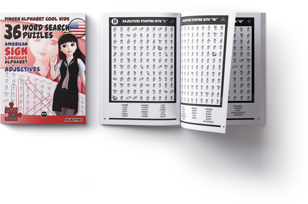 ASL Word Search Games 108 Word Search Puzzles with the American Sign Language Alphabet Cool Kids Volume 1 adjectives
